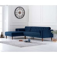 Product photograph showing Ilana Blue Velvet Left Facing Chaise Sofa