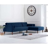 Read more about Ilana blue velvet right facing chaise sofa