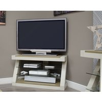Read more about Z painted corner tv unit with smoked oak top