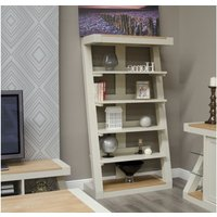 Product photograph showing Z Painted Large Bookcase With Natural Oak Top