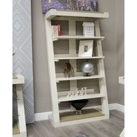 Product photograph showing Z Painted Large Bookcase With Smoked Oak Top