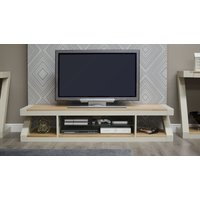 Read more about Z painted large plasma tv unit with natural oak top