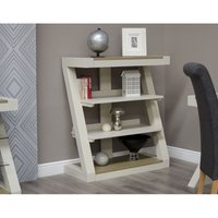 Product photograph showing Z Painted Small Bookcase With Smoked Oak Top