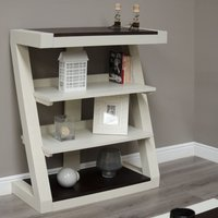 Product photograph showing Z Painted Small Bookcase With Wenge Oak Top