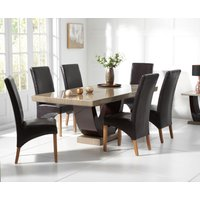 Product photograph showing Raphael 170cm Brown Pedestal Marble Dining Table With Cannes Chairs