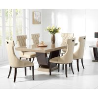 Product photograph showing Raphael 170cm Brown Pedestal Marble Dining Table With Freya Chairs