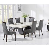Raphael 200cm White and Black Pedestal Marble Dining Table with Angelica Chairs