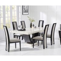 Raphael 200cm White and Black Pedestal Marble Dining Table with Raphael Chairs