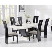 Raphael 200cm White and Black Pedestal Marble Dining Table with Verbier Chairs