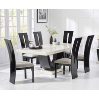 Raphael 170cm White and Black Pedestal Marble Dining Table with Verbier Chairs
