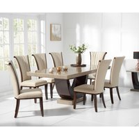 Raphael 200cm Brown Pedestal Marble Dining Table with Alpine Chairs