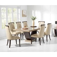 Raphael 200cm Brown Pedestal Marble Dining Table with Angelica Chairs