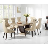 Raphael 200cm Brown Pedestal Marble Dining Table with Freya Chairs