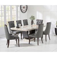 Raphael 200cm Cream and Black Pedestal Marble Dining Table with Angelica Chairs