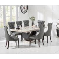 Raphael 200cm Cream and Black Pedestal Marble Dining Table with Freya Chairs