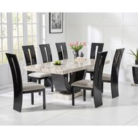 Raphael 200cm Cream and Black Pedestal Marble Dining Table with Verbier Chairs