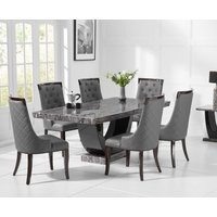 Product photograph showing Raphael 200cm Dark Grey Pedestal Marble Dining Table With Angelica Chairs