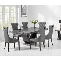 Raphael 200cm Dark Grey Pedestal Marble Dining Table with Freya Chairs