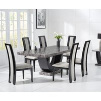 Raphael 200cm Dark Grey Pedestal Marble Dining Table with Raphael Chairs
