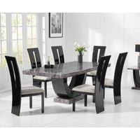 Raphael 200cm Dark Grey Pedestal Marble Dining Table with Verbier Chairs