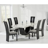 Product photograph showing Raphael 170cm Cream And Black Pedestal Marble Dining Table With Verbier Chairs