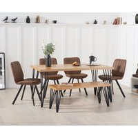 Product photograph showing Rafino 160cm Dining Table With Dali Faux Leather Chairs And Benches