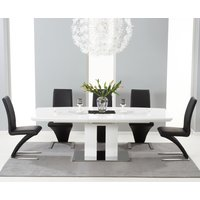 Richmond 180cm White High Gloss Extending Dining Table with Black Hampstead Z Chairs