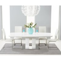 Richmond 180cm White High Gloss Extending Dining Table with Ivory-White Malaga Chairs