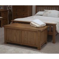 Product photograph showing Rustic Oak Blanket Box