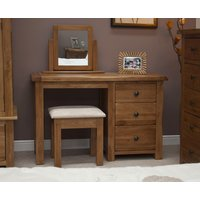 Read more about Rustic oak dressing table with stool