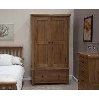 Product photograph showing Rustic Oak Gents Wardrobe