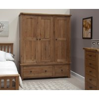 Product photograph showing Rustic Oak Triple Wardrobe