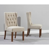 Product photograph showing Safia Beige Fabric Dark Oak Leg Dining Chairs Pairs
