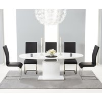 Santana 160cm White High Gloss Extending Pedestal Dining Table with Black Malaga Chairs