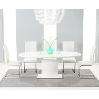 Santana 160cm White High Gloss Extending Pedestal Dining Table with Ivory-White Malaga Chairs