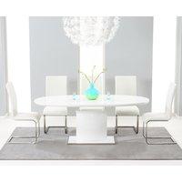 Santana 160cm White High Gloss Extending Pedestal Dining
