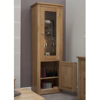 Product photograph showing Reno Oak Glazed Single Display Cabinet