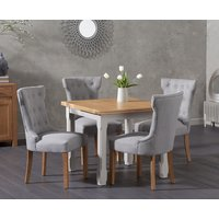 Read more about Somerset 90cm flip top oak and grey dining table with cora grey fabric chairs