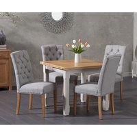 Read more about Somerset 90cm flip top oak and grey dining table with candice grey fabric chairs
