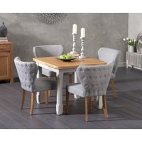 Read more about Somerset 90cm flip top oak and grey dining table with imogen grey fabric chairs