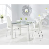 Product photograph showing Sophie 90cm Glass Dining Table With Calgary Chairs