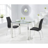 Product photograph showing Sophie 90cm Glass Dining Table With Cavello Chairs
