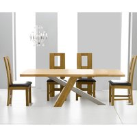 Product photograph showing Chateau 180cm Oak And Metal Dining Table With Louis Chairs