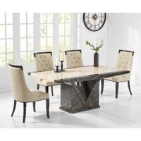 Product photograph showing Tenore 160cm Marble Effect Dining Table With Angelica Chairs