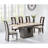 Product photograph showing Tenore 160cm Marble Effect Dining Table With Raphael Chairs