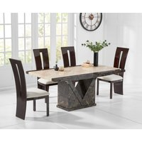 Product photograph showing Tenore 160cm Marble Effect Dining Table With Verbier Chairs