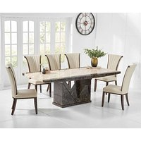 Tenore 220cm Marble Dining Table with Alpine Leather Chairs