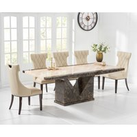 Product photograph showing Tenore 180cm Marble Effect Dining Table With Freya Chairs