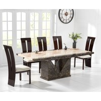 Tenore 220cm Marble Effect Dining Table with Verbier Chairs