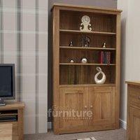 Product photograph showing Reno Oak 2 Door Bookcase